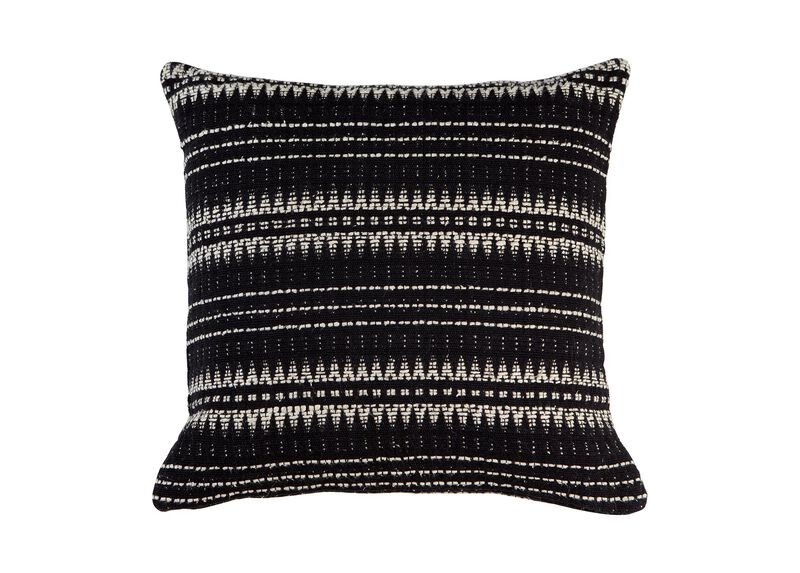 """22"""" Black and Ivory Woven Silk Pillow"""