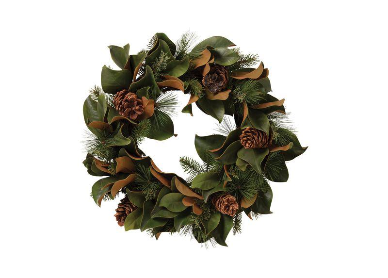 """24"""" Magnolia Leaf and Evergreen Wreath"""