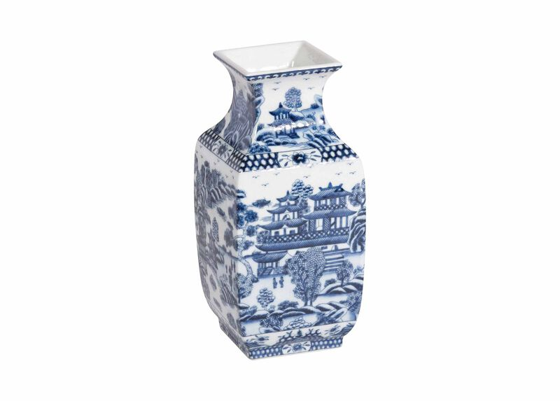 Blue and White Square Vase