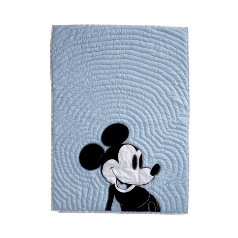 Color Block Mickey Toddler Quilt, Sky ,  , large