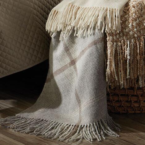 Alpaca Ombré Plaid Throw, Gray Product Tile Hover Image 031672