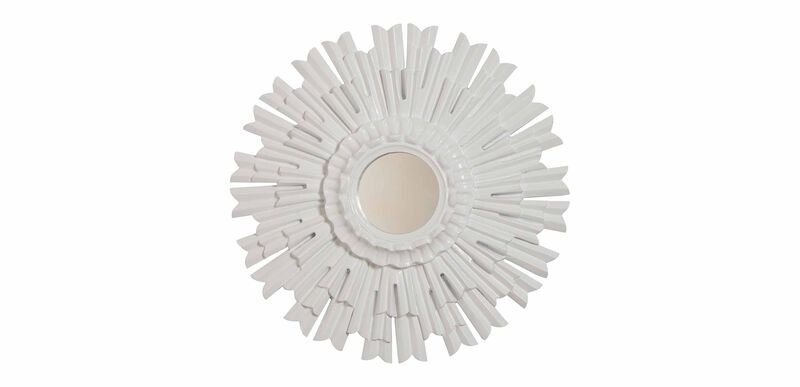 "20"" White Sunburst Mirror"