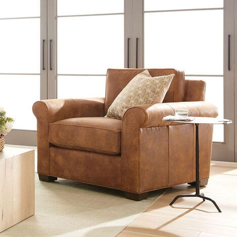 Spencer Roll-Arm Leather Chair Product Tile Hover Image spencerRAchairLTH