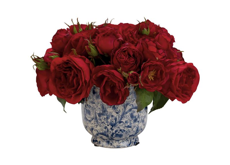 Mixed Red Roses in Cachepot