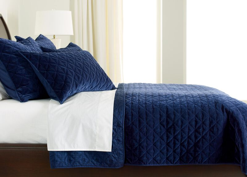 Gresham Navy Velvet Coverlet ,  , large_gray