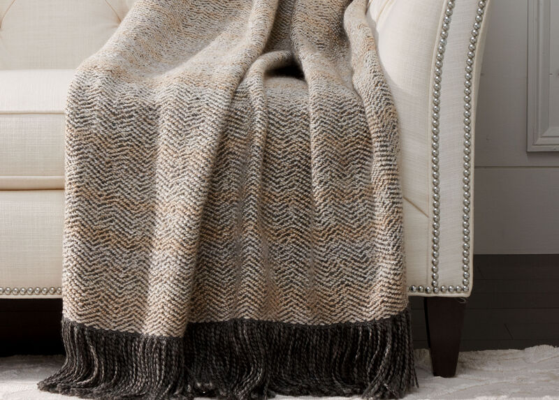 Chevron Knit Throw, Ivory