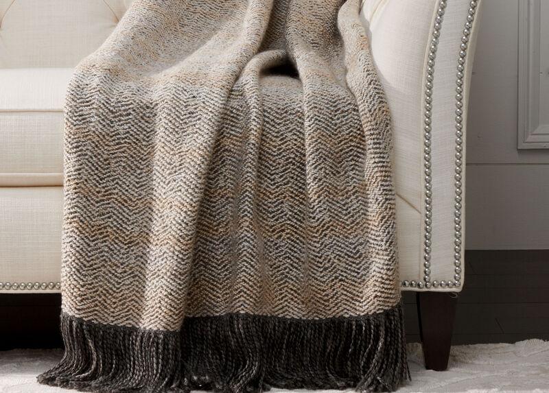 Chevron Knit Throw, Ivory