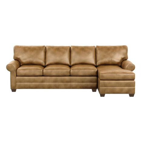 Bennett Roll-Arm Leather Two-Piece Sectional with Chaise Product Tile Image 727887G1