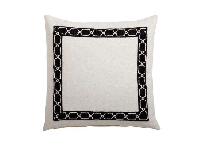 Framed Ivory Pillow, Black/Ivory