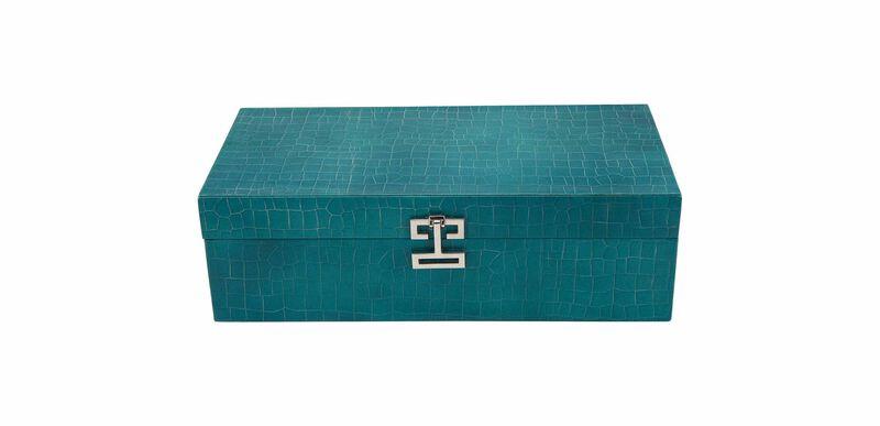 Long Turquoise Croc Box