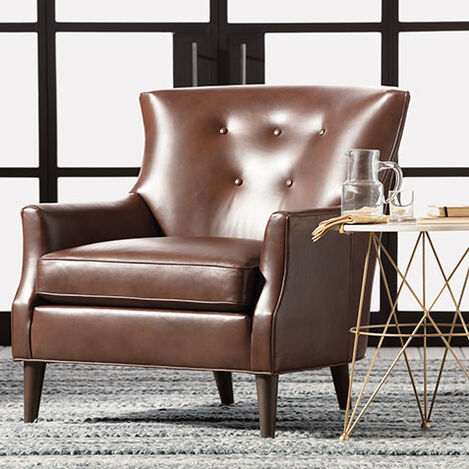 Juilliard Barrel-Back Leather Wing Chair Product Tile Hover Image 722516