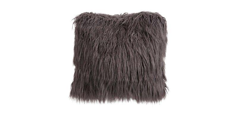 Faux Fur Pillow, Charcoal