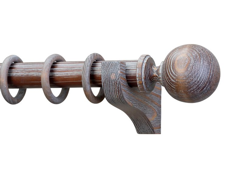 Ball Distressed Wood Finial and Drapery Hardware Set