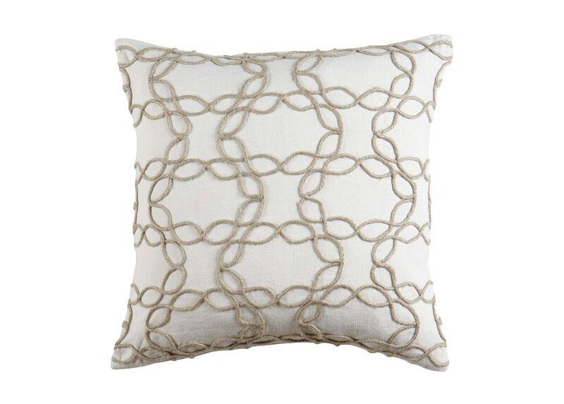Wavy Jute Pillow, Ivory/Natural