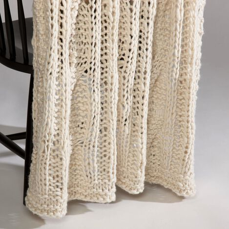 Ivory Chunky Knit Throw ,  , large