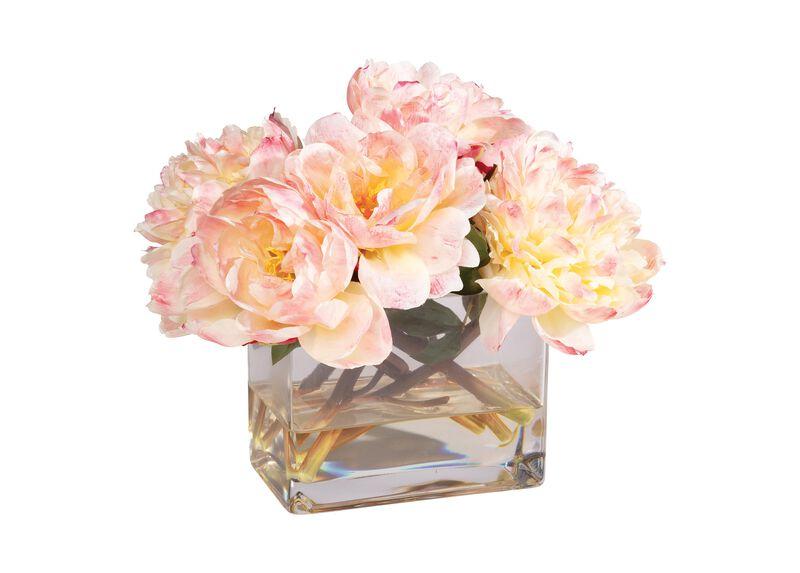 Peach Peonies in Rectangular Glass Vase