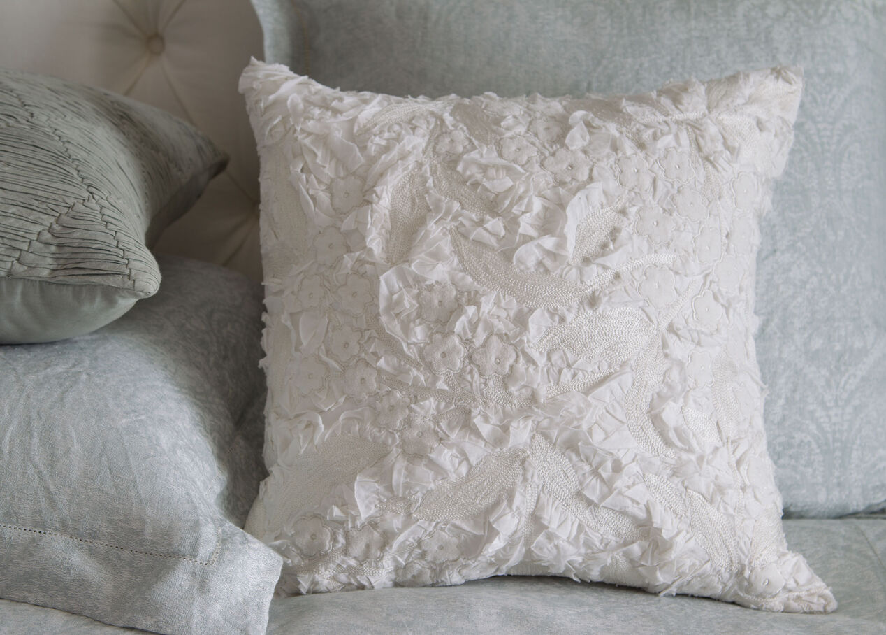 Decorative Pillows With Embellishments : Embellished Floral Pillow Pillows