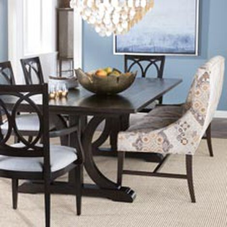 large corin rough sawn trestle dining table hover_image - Painted Dining Room Table And Chairs