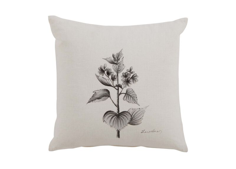 Black and White Botanical Hand-Painted Pillow