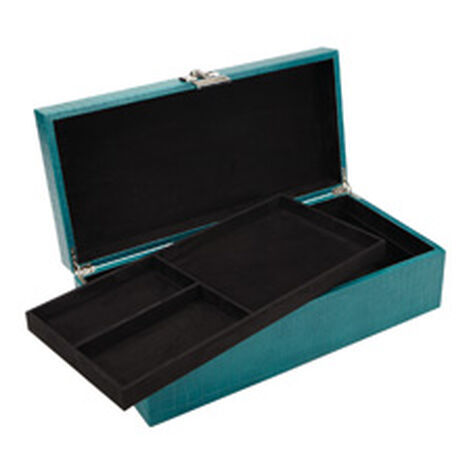 Long Turquoise Croc Box ,  , hover_image