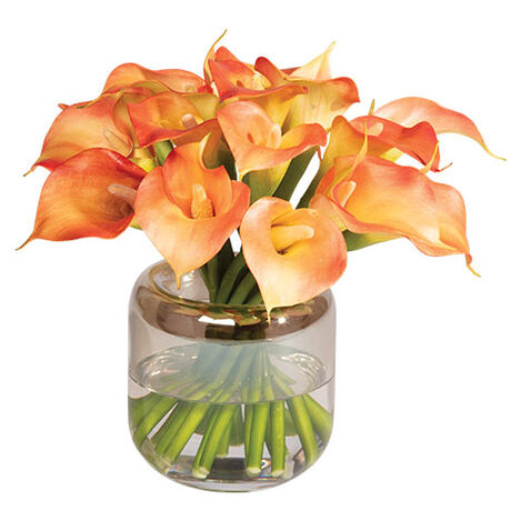 Calla Lilies in Round Glass Vase Product Tile Image 442225