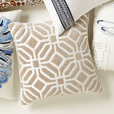 Geometric Embellished Pillow Product Tile Hover Image 065685   IVO