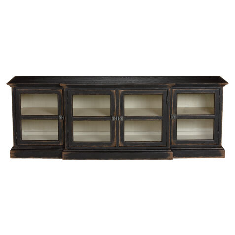White Media Console Furniture. Farragut Media Cabinet, Rustic Black With  White Interior , Large