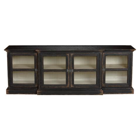 White Media Console Furniture. Farragut Media Cabinet, Rustic Black With  White Interior , Large