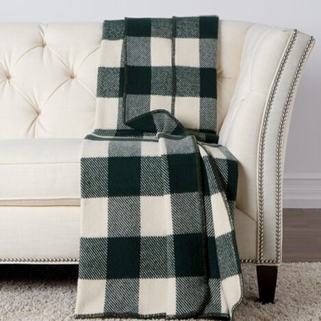 Buffalo Check Throw, Ivory/Hunter Green ,  , large