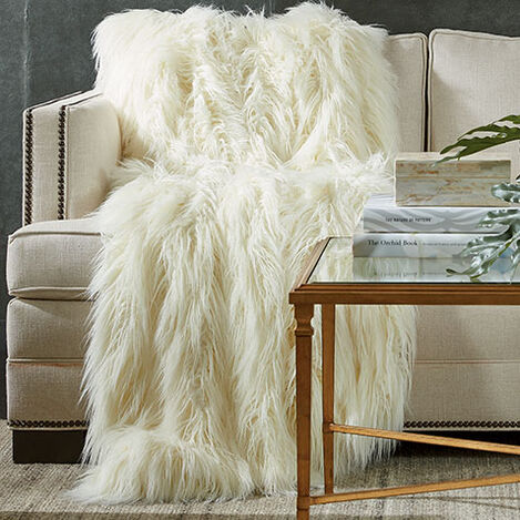 Faux Fur Throw, Ivory Product Tile Hover Image 031857