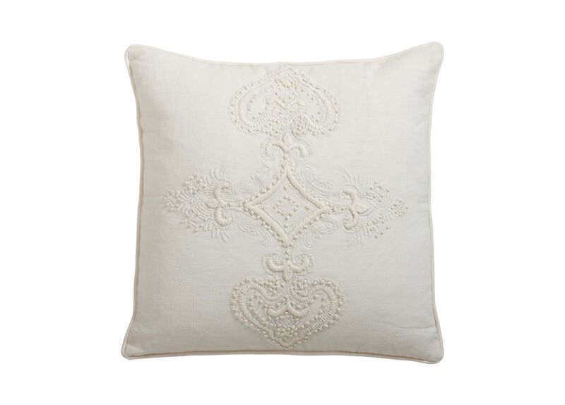 Embroidered Scroll on Ivory Linen Pillow ,  , large_gray