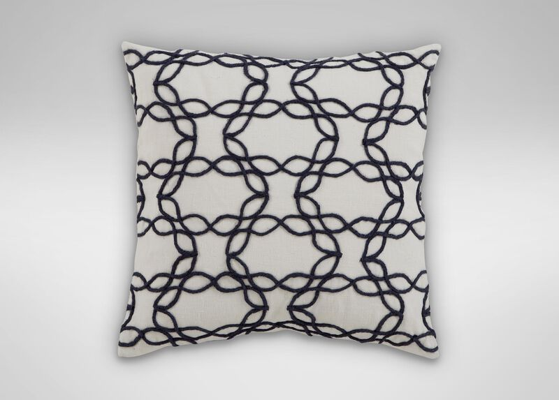 Wavy Jute Pillow, Ivory/Navy ,  , large_gray