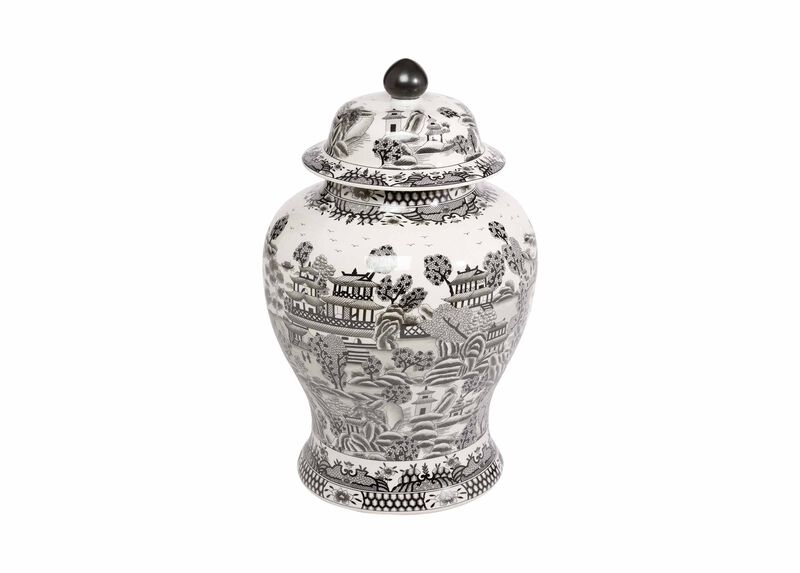 Large Black and White Ginger Jar ,  , large_gray
