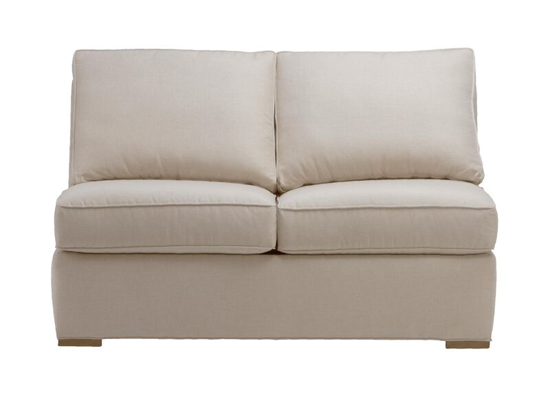 Meeting Place Armless Loveseat, Quick Ship , Zest Linen (D1031), strie texture , large_gray