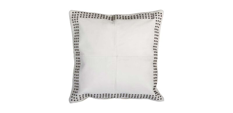 Studded White Leather Pillow