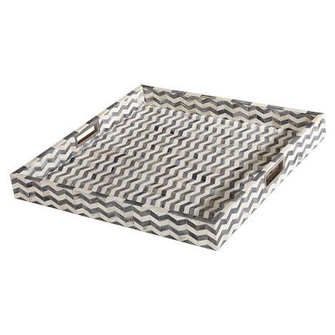 "Chevron 24"" Square Bone Tray Product Tile Image 431713"