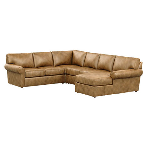 Retreat Leather Roll-Arm Four-Piece Sectional with Chaise Product Tile Image 727430G2
