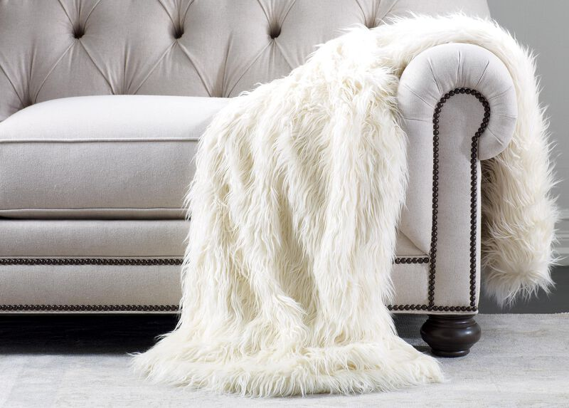 Ivory Faux Fur Throw ,  , large_gray