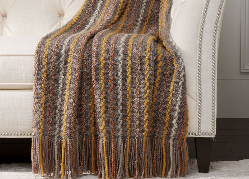 Squiggle Knit Throw, Gray