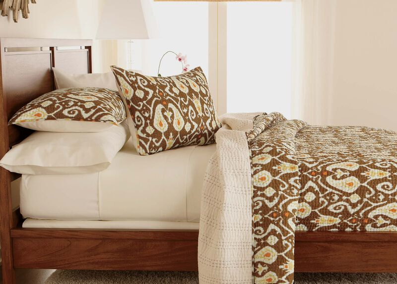 Trishna Brown Kantha Quilt, Full/Queen