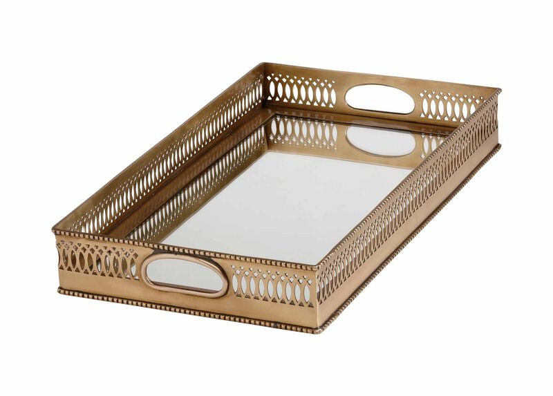 Rectangular Brass Mirrored Tray