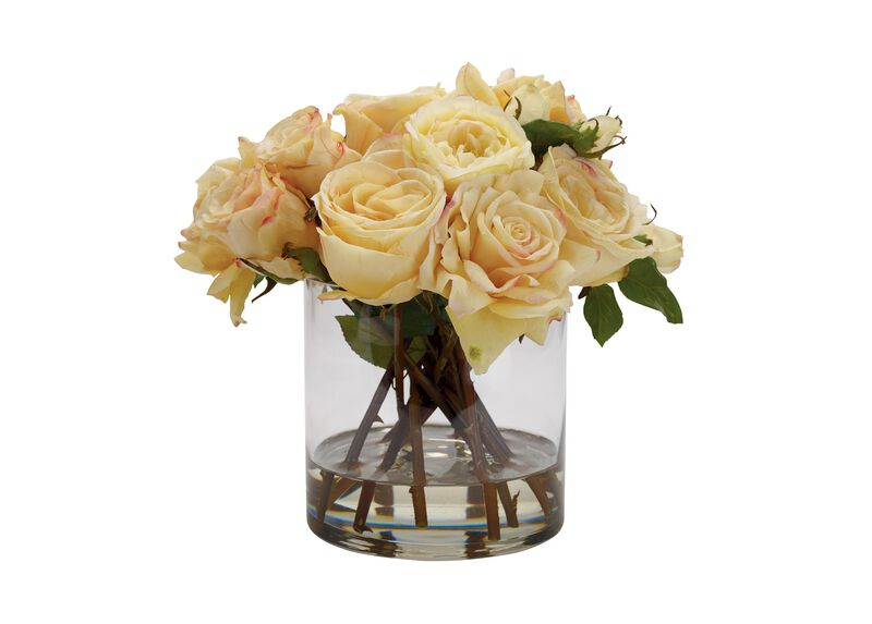 Mixed Yellow Roses in Glass