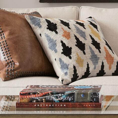 Modern Leaf Silk Velvet Pillow, Multicolored Product Tile Hover Image 061301