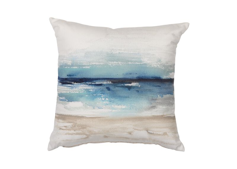 Blue Watercolor Outdoor Pillow