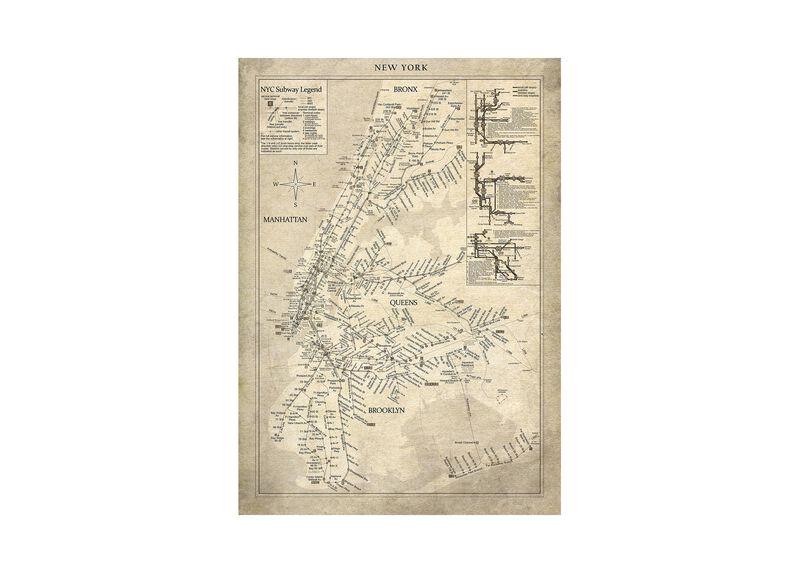 New York Subway Map Vintage