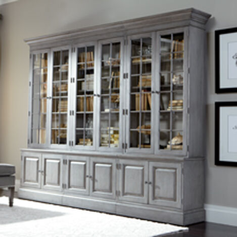 Inspirational Library Cabinet with Glass Doors