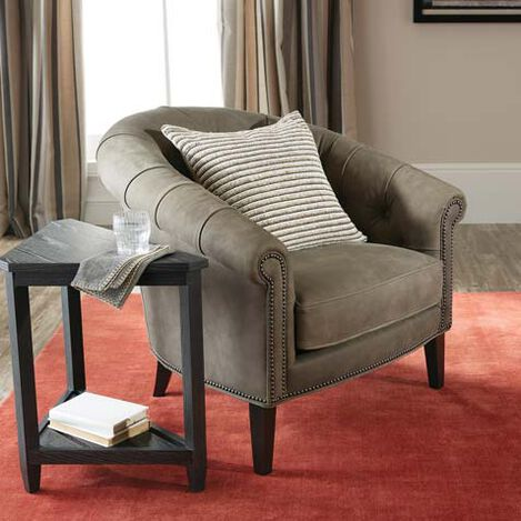 Clyde Leather Barrel Chair Product Tile Hover Image 722265