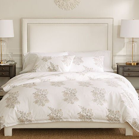 Blossom Block Printed Duvet Cover and Sham ,  , large