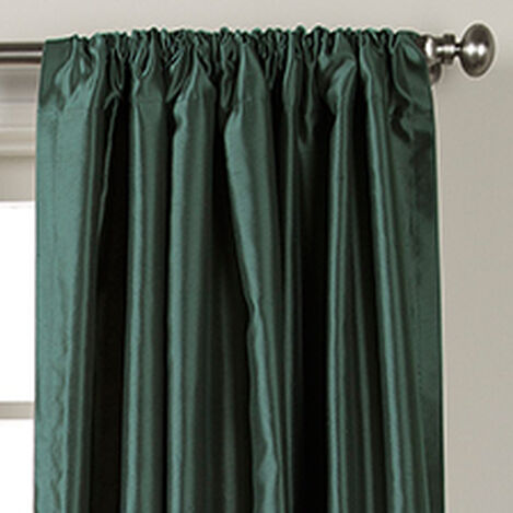 Teal Satin Dupioni Rod-Pocket Panel ,  , hover_image