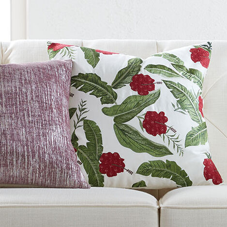 Embroidered Hibiscus Pillow Product Tile Hover Image 065653